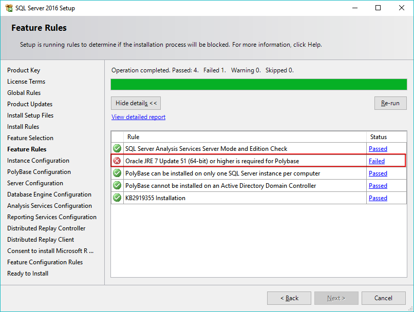 06-Installing-SQL-Server-2016-Feature-Rules-Failed