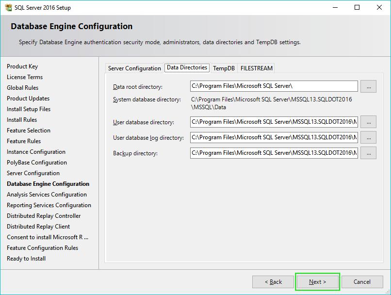12_Installing-SQL-Server-2016-Server-Configuration-Data-Directories