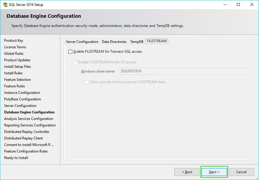 14_Installing-SQL-Server-2016-Server-Configuration-Filestream